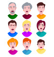 extremely surprised young people shock portrait vector image vector image