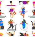 fitness girls plus size seamless pattern health vector image vector image