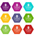 furniture cupboard icons set 9 vector image vector image