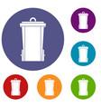 garbage bin icons set vector image vector image