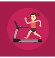 Girl running on treadmill Active lifestyle vector image
