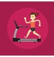 Girl running on treadmill Active lifestyle vector image