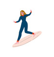 girl surfer in wetsuit riding surfboard catching vector image vector image