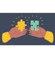 hands putting puzzle pieces vector image vector image