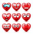 heart smiley emoji set for valentines day vector image vector image