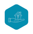 house in hand icon outline style vector image