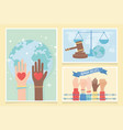 human rights raised hands fist hearts love world vector image