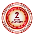 Label on 2 year guarantee vector image vector image