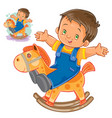 little boy rocking wood horse vector image
