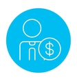 Man with dollar sign line icon vector image vector image