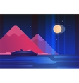 Mountains and boat night landscape - modern flat vector image vector image