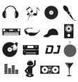music club dj black simple icons set eps10 vector image vector image