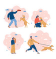 people with a dogs walking vector image vector image