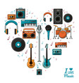 poster i love music with colorful silhouette of vector image