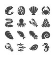 sea food black silhouette icons vector image