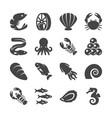 sea food black silhouette icons vector image
