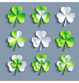 Set of stylized 3d Patricks leaf clover vector image vector image