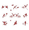 Silhouettes of birds on branches vector image vector image