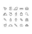 simple set of fast food thin line icons vector image vector image