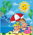 summer theme with children on beach vector image