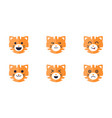 tiger emoticons set cute tiger face emoji with vector image vector image