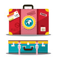 travelling suitcase retro travel bag side and top vector image