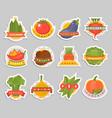 vegetables label logo badge design template vector image vector image