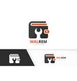 wallet and repair logo combination purse vector image