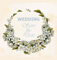wedding wreath with cherry flowers vector image vector image