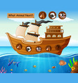 wood boat sailing with farm animals theme vector image vector image