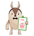 armadillo fail in exam on white background vector image