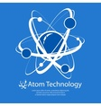 Atom on blue text vector image vector image