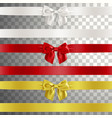bows made of satin ribbon in white red and gold vector image vector image