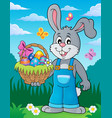 bunny holding easter basket theme 3 vector image