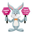 bunny with 404 error sign on white background vector image vector image