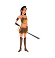 cartoon female warrior with a spear vector image vector image
