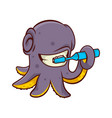 cheerful octopus cleaning teeth with toothbrush vector image vector image