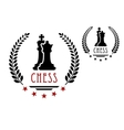 Chess game emblem with king and queen vector image vector image