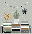 christmas card with christmas tree books stars vector image