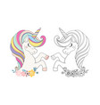 coloring page unicorn head with flower in boho vector image