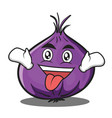 crazy red onion character cartoon vector image vector image