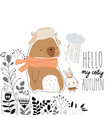 cute bear with little bunny staying in plants vector image