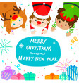 cute kids in christmas background vector image vector image