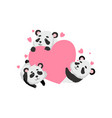 cute panda bears holding pink heart happy lovely vector image vector image