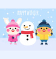 cute rabbits and snowman happy winter card vector image vector image