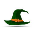 dark green witch and wizards hat with belt vector image vector image