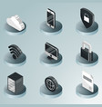 data center color isometric icons vector image