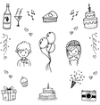 Doodle hand draw wedding party vector image vector image