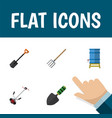 flat icon farm set of spade trowel hay fork and vector image vector image