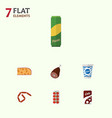 flat icon food set of bratwurst tomato yogurt vector image vector image